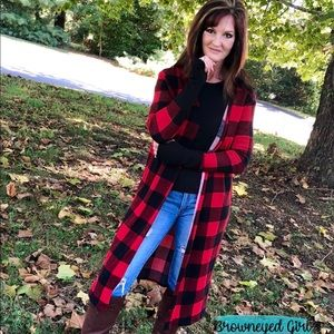 Buffalo Plaid Cardigan Long Thumbholes